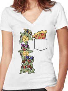 Pocket Pizza Women's Fitted V-Neck T-Shirt