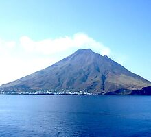 Volcano on Stromboli Italy from the sea by TOM HILL - Designer