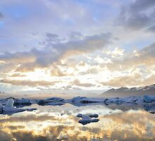 sunset over the ice lake by solaner