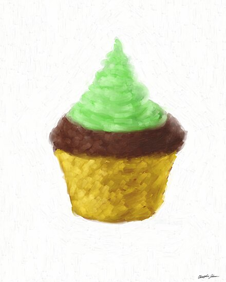 Green Frosted Chocolate Cupcake by Christopher Johnson