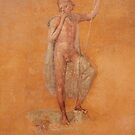 Naked Man holding stick fresco from Pompei by TOM HILL - Designer