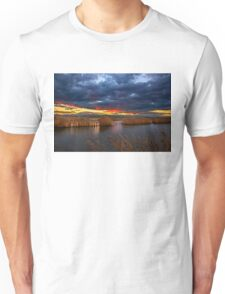 Sunset at the marshlands of Aliakmonas river Unisex T-Shirt