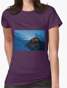 Mont Saint Michel at night Womens Fitted T-Shirt