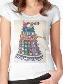 Dalek zentangle Women's Fitted Scoop T-Shirt