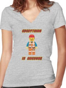 Emmet Brickowski / Everything is Awesome Women's Fitted V-Neck T-Shirt