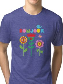 Bonjour - on lights Tri-blend T-Shirt