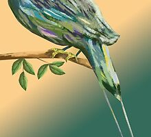 Long tailed blue bird by Thecla Correya