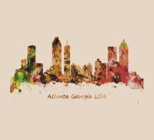 Watercolour art print of the skyline of Atlanta Georgia USA by chris2766