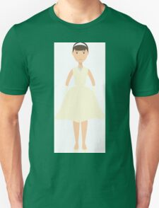 Cute pretty bride in a wedding dress. The style of Audrey Hepburn. Style icon. Fleta icon bride. T-Shirt