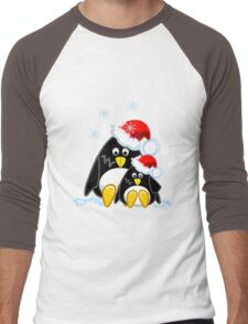 Cute Penguins Christmas Tee Men's Baseball ¾ T-Shirt