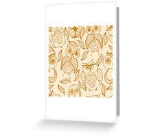Four different brown owls Greeting Card