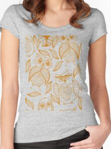 Four different brown owls Women's Fitted Scoop T-Shirt
