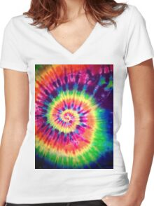 Psychedelic Colours Women's Fitted V-Neck T-Shirt