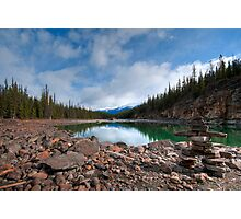 Athabasca River Inucshuk, Jasper, Alberta, Canada Photographic Print