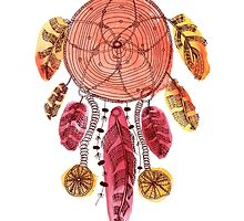 Hand drawn illustration of indian dream catcher by sailorlun