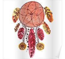 Hand drawn illustration of indian dream catcher Poster