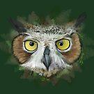 Great Horned Owl in Forest by Stuart Hogton