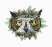 Great Horned Owl in Forest One Piece - Short Sleeve