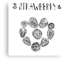 Strawberry black and white hand drawn vintage doodle illustration Canvas Print