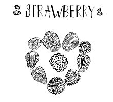 Strawberry black and white hand drawn vintage doodle illustration Photographic Print