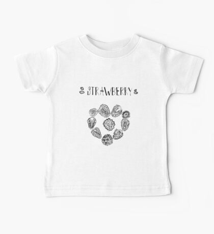 Strawberry black and white hand drawn vintage doodle illustration Baby Tee