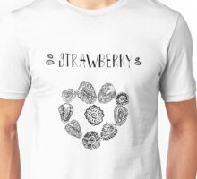 Strawberry black and white hand drawn vintage doodle illustration Unisex T-Shirt
