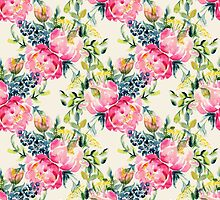 Watercolor peonies bouquet pattern by Yuliya Shora
