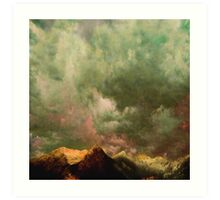 Cascades - in Green - Washington with clouds courtesy of Rinaldo Di Battista Art Print