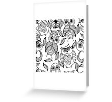 Four different black owls Greeting Card