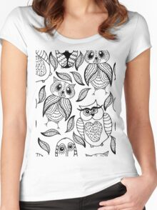 Four different black owls Women's Fitted Scoop T-Shirt