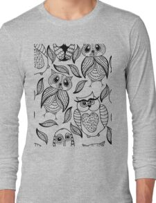 Four different black owls Long Sleeve T-Shirt