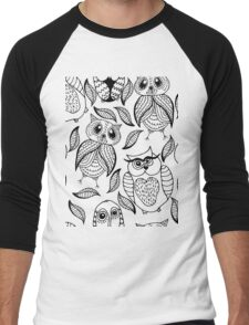 Four different black owls Men's Baseball ¾ T-Shirt