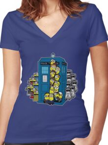 Behind You Doc Minion Women's Fitted V-Neck T-Shirt