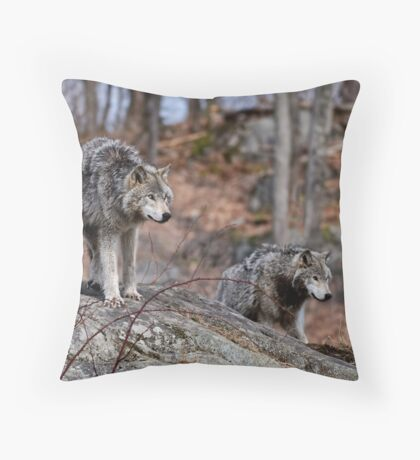 Timber Wolves on Rocks Throw Pillow