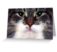watercolor lazy cat with red nose Greeting Card