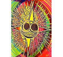 Sun Star Smiley Face red green gold Photographic Print