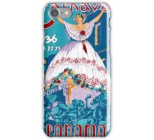 Panama Carnival Vintage Travel Poster Restored iPhone Case/Skin