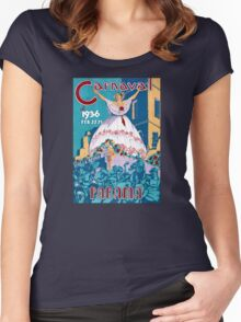 Panama Carnival Vintage Travel Poster Restored Women's Fitted Scoop T-Shirt