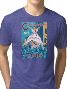 Panama Carnival Vintage Travel Poster Restored Tri-blend T-Shirt