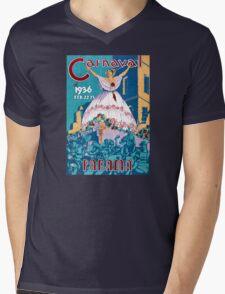 Panama Carnival Vintage Travel Poster Restored Mens V-Neck T-Shirt