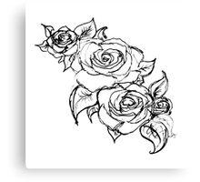 White Wedding Roses Canvas Print