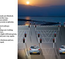 When all the roads are blocked postcard by Moshe Cohen