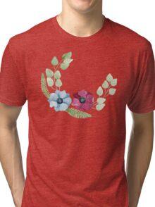 Burgundy and blue anemone flowers pattern Tri-blend T-Shirt