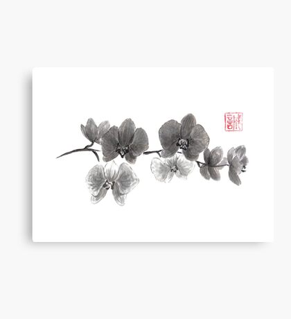 Curious orchid sumi-e painting  Canvas Print