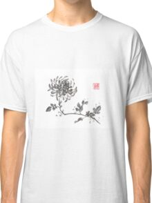 Golden dragon Chrysanthemum sumi-e painting Classic T-Shirt