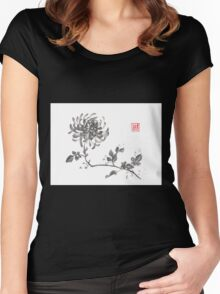Golden dragon Chrysanthemum sumi-e painting Women's Fitted Scoop T-Shirt