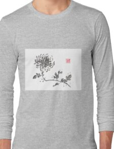 Golden dragon Chrysanthemum sumi-e painting Long Sleeve T-Shirt