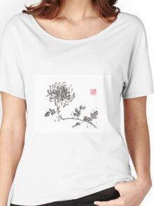 Golden dragon Chrysanthemum sumi-e painting Women's Relaxed Fit T-Shirt