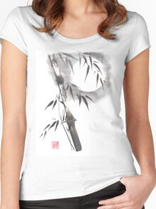 Moon blade bamboo sumi-e painting  Women's Fitted Scoop T-Shirt