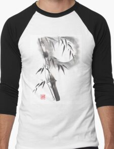 Moon blade bamboo sumi-e painting  Men's Baseball ¾ T-Shirt